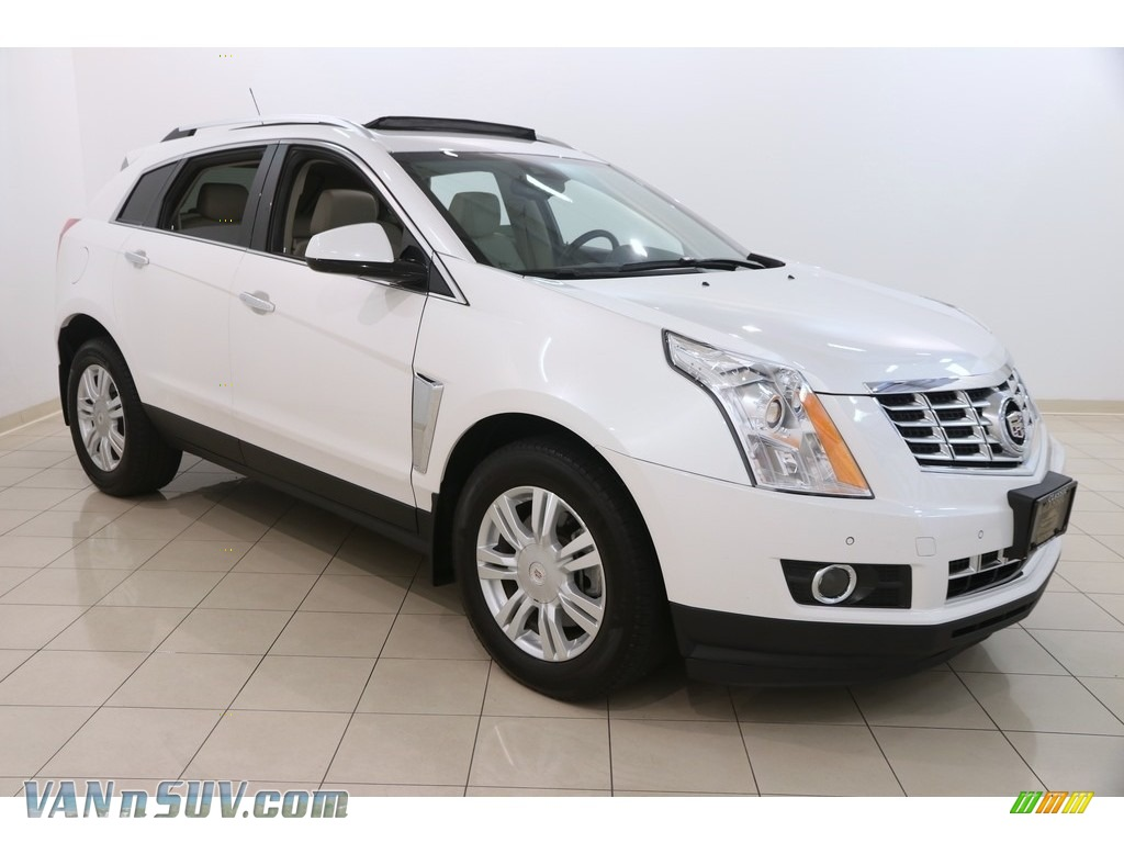 Platinum Ice Tricoat / Shale/Brownstone Cadillac SRX Luxury AWD