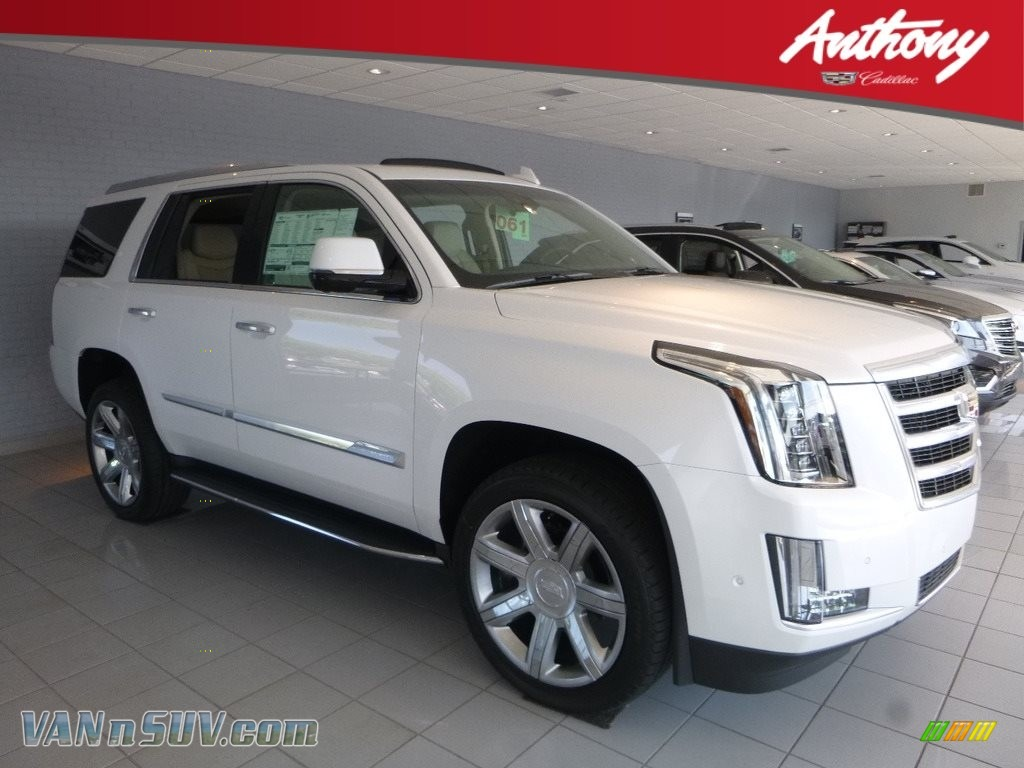 2018 Escalade Luxury 4WD - Crystal White Tricoat / Shale/Jet Black photo #1