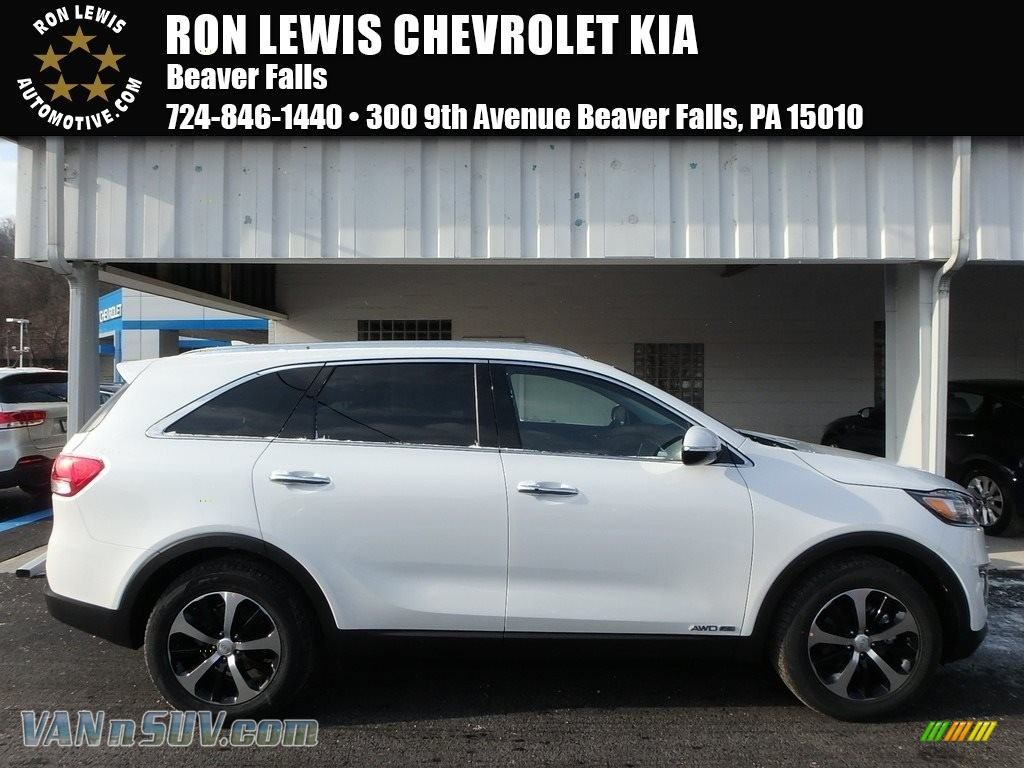 2018 Sorento EX V6 AWD - Snow White Pearl / Black photo #1