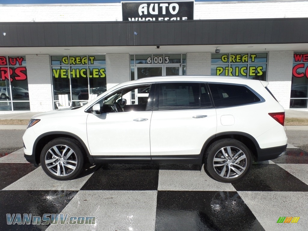 White Diamond Pearl / Black Honda Pilot Elite AWD