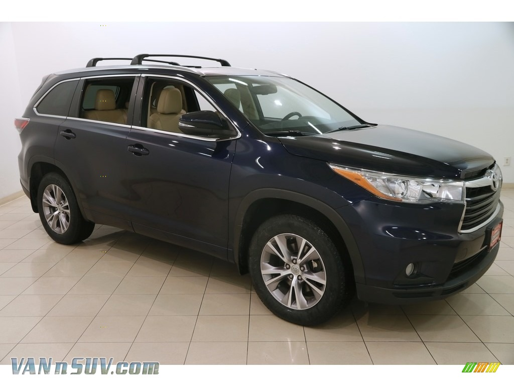 2015 Highlander XLE AWD - Shoreline Blue Pearl / Almond photo #1