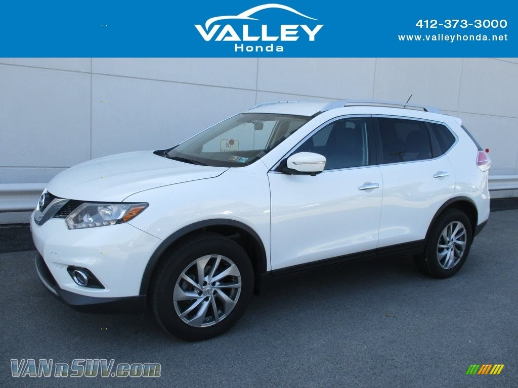2014 Rogue S AWD - Moonlight White / Almond photo #1