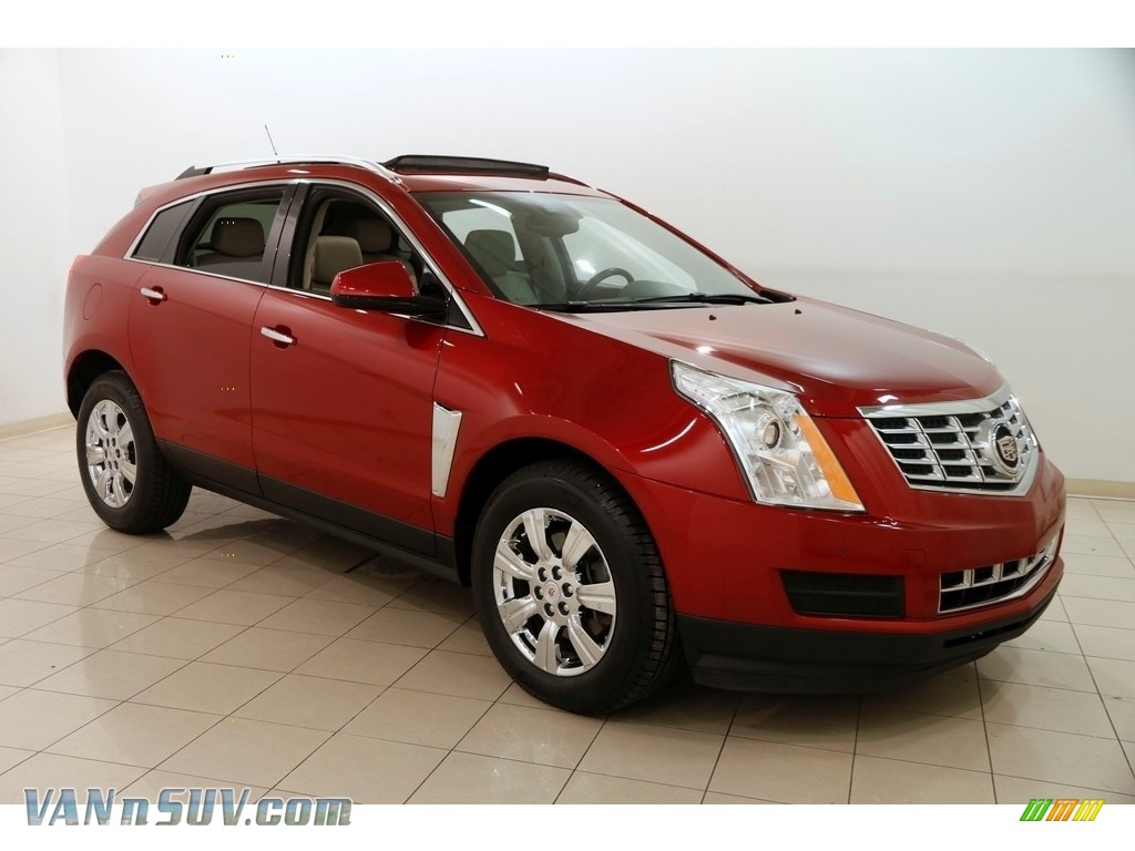 Crystal Red Tintcoat / Shale/Brownstone Cadillac SRX Luxury