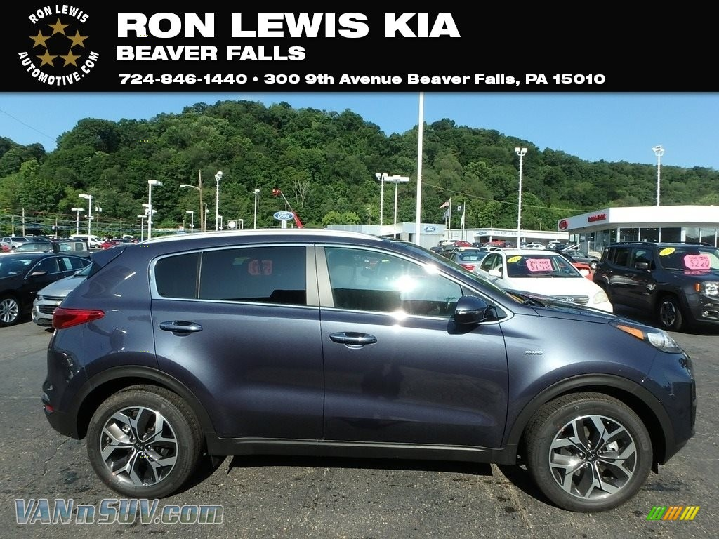 Pacific Blue / Black Kia Sportage EX AWD