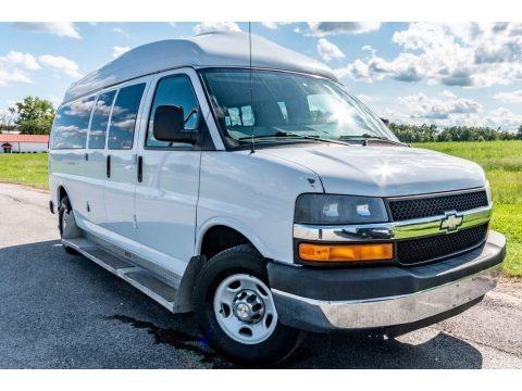Summit White 2010 Chevrolet Express LT 3500 Extended Passenger Van