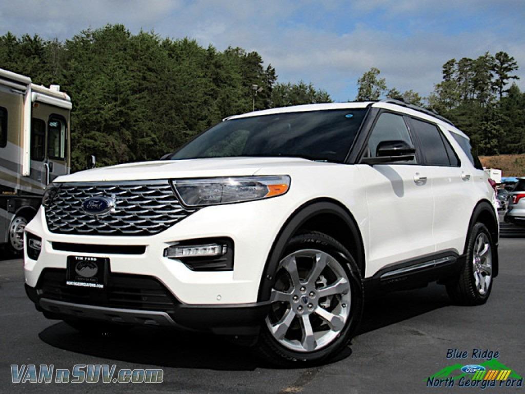 2020 Explorer Platinum 4WD - Star White Metallic Tri-Coat / Ebony photo #1