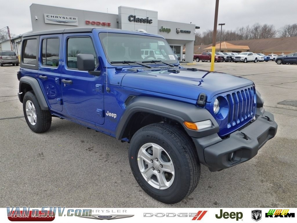 2020 Wrangler Unlimited Sport 4x4 - Ocean Blue Metallic / Black photo #1