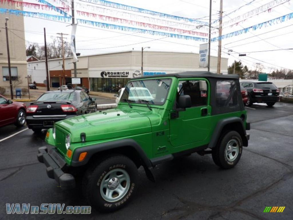 2004 jeep wrangler x 4x4 in electric lime green pearl - 702770