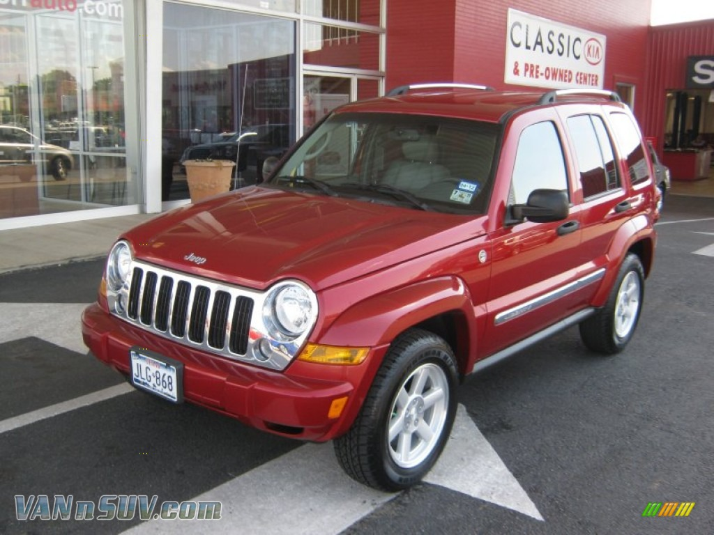 Inferno Red Crystal Pearl / Khaki Jeep Liberty Limited 4x4